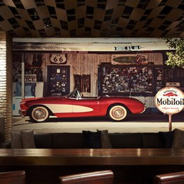 Wholesale Custom Vintage Cars - Free Shipping 3D Stereo Custom Restaurant Coffee Shop Bar Background Wallpaper Retro Nostalgia Vintage Red Car Mural Wallpaper