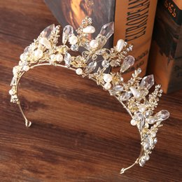Wholesale Tiara Miss - Newest Gold Swarovski Bridal Tiara Crown Crystal Princess Wedding Headpiece Quinceanera Crown Baroque Style Wedding Headband Miss Word Tiara