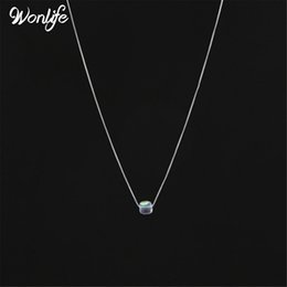 Wholesale Indian Cube - Wonlife Clear Cube Shape Shiny Crystal Pendants Necklace Simple Design Sugar Chain Of Clavicle Jewlry For women