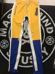 Wholesale Vertical Stripes Fashion - 2018 TOPS Best version justin bieber FOG FEAR OF GOD Vertical stripes splice men Side zipper jogger pants hip hop Fashion Casual pants