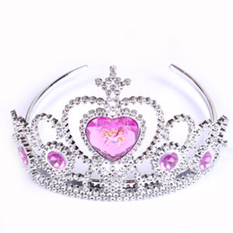 Wholesale Princess Pageant Crowns - Cinderella princess girl crowns hearts tiara baby party hair accessories pageant hairbands gift 2 style B001
