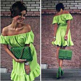 Wholesale Cheap Neon Dress - Neon Green Dress Women Summer Dress 2015 Mini Ruffles Dresses Cheap Puff Sleeve Kawaii Women's Clothing FG1510