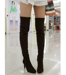 Wholesale Hot Long Boots - free shipping 2016 new fashion high heels shoes Hot Sale Women's long boots Over the Knee boots Size 34-43 Black Brown gray 168 knight boots