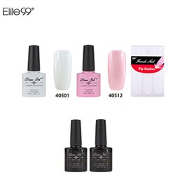 Wholesale Top Quality Manicure Set - Wholesale-Beau 7.3ml French Manicure Set Nail Gel Polish Top Base Coat Needed High Quality Free Guide Tip For Beauty Nail Art DIY