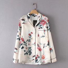 Wholesale ladies office shirts blouses - dongguan_wholesale New Brand Women Vintage Flower Print Office Lady Blouses Shirts Long Sleeve Pocket Casual Slim Feminine Blusa Tops 2018