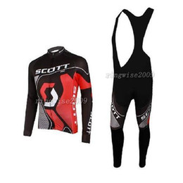 Wholesale Scott Long Sleeve Bike - Scott Pro Team Cycling Jersey Set Breathable Colorfast High Quality Long Sleeve Black Shirts and Bib Pants Mens Bike Clothes