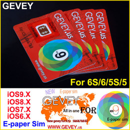 Wholesale Gevey 4s - New Gevey Unlock Sim Card Perfect unlock 4G 3G ios9 ios 9.1 ios8.x ios7.X for iphone 6S plus 6 6plus 5s 4s AT&T T-mobile Sprint AU SB DOCOME