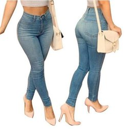 Wholesale Lift Butt Waist Jeans - Hot sale sexy package hip slim pencil pants perfect waist straight denim skinny jeans plus size blue sculpt butt lifting jeans