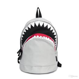 Wholesale Big Satchel - Wholesale-Big Shark Backpack nylon fashion white and Black backpacks Mochilas