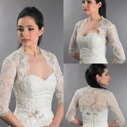 Wholesale Champagne Lace Wedding Shawl - 2015 Newest Front Open Appliques 3 4 Long Sleeves Lace White Bolero Jacket Cheap Hot Cap Wrap Shrug For Wedding Bridal Evening Party PJ029