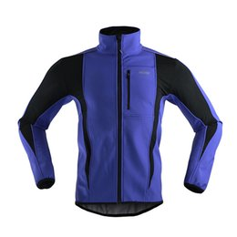 Wholesale Soft Jerseys - Wholesale-ARSUXEO Thermal Cycling Ride Sports Jacket Winter Warm Up Bicycle Clothing Windproof Waterproof Soft shell Coat MTB Bike Jersey