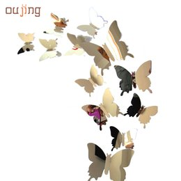 Wholesale Butterfly Wallpaper Decor - Wholesale- oujing Factory Price beautiful Decal Butterflies 3D Mirror Wall Stickers for Art Home Decors or Poster Wallpaper Aug15