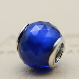 Wholesale Blue Facet Crystals - 925 Sterling Silver Geometric Facets Charm Bead with Royal Blue Crystal Fits European Jewelry Bracelets Necklaces & Pendants