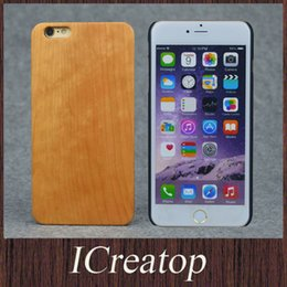 Wholesale Iphone Handmade Hard Case - Eco-friendly Natural Cherry wood cell phone cases for iPhone6 6Plus GalaxyS6 S6EDGE Handmade bamboo Wood Wooden cover shell hard back case
