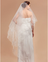 Wholesale White Wedding Vail - 2015 Free Shipping In Stock Wedding Veils Long Applique Bridal Wedding Accessories Cheap Elbow Length White Ivory Party Bride Wedd Edge Vail