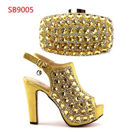 Wholesale Elegant High Heels For Women - Most Popular Latest African Super High Heels And Bag High Class Elegant Italian Shoes and Bag Set For Party With Full Stones Free Shipping
