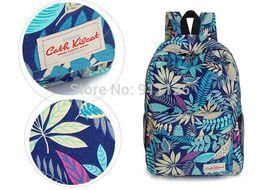Wholesale Retro Rucksacks - Wholesale-2015 Hot women men printing leaves backpacks mochila rucksack fashion canvas bags retro casual school bags travel bags EB35