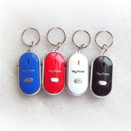 Wholesale Led Flashing Key Chain - 100 BBA4845 Easy Sound Control Locator Lost Key Finder with Flashing LED Light Key Chain Keychain Keys Finding Whistle Sound Control gifts