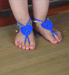 Wholesale Baby Sandles - baby Crochet Barefoot Sandals Summer Sandles Shoes Beads Victorian Cotton Anklet Foot Women Accessories Elegant Beach Wear Sexy Nude