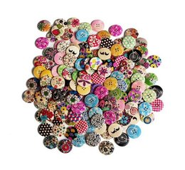 Wholesale Fantastic Paintings - Designed Super Fantastic Round Shaped Painted 4 Hole Wooden Buttons 30mm*30mm 25mm*25mm