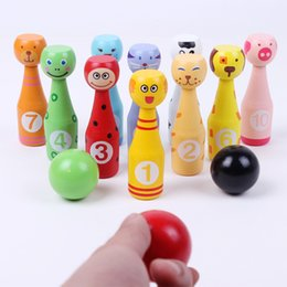 Wholesale Cartoon Dog Games - 13pcs set Wooden Bowling Bottle Ball Game Cute Cartoon Animal Shape for Kids Children Early Development Sports Toys