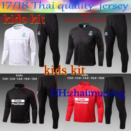 Wholesale Boys Black Jackets - 2017 Kids Kit AC Marseille Training Suits 17 18 LYON Real Madrid RONALDO MESSI kits Tracksuit Camisetas De Futbol Chandal Survetement Jacket