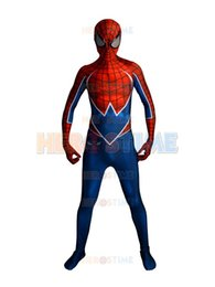 Wholesale Classic Spiderman Spandex Costume - Free Shipping Punk-Rock Spidey 3D Printing Spider-man Costume Lycra Spandex Zentai Spiderman Full Body Halloween Cosplay Suit