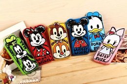 Wholesale Duck Iphone Cover - 3D Cartoon Graffiti Minnie Mickey Mouse Donald Duck Silicone Cases Cover For iphone 4S 5S iphone 6 4.7 plus 5.5 MOQ 50