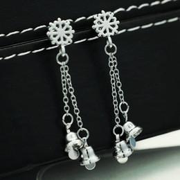 Wholesale Earrings Snowflake Long - Christmas Snowflake Earrings Creative 54.6mm Long Fashion Simple Bell Alloy Women's Earrings Christmas Gift 30 pcs