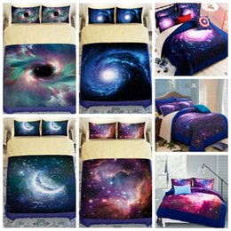 Wholesale Wholesale Twin Beds - 9 Styles 3D Galaxy Printed Child Christmas Bedding Sets Europe Type Style Duvet Covers for King Size Bedding Duvet Cover Gift CCA7977 5set