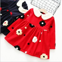 Wholesale Dolls Clothes Line - 2017 Winter Girls Dress doll collar Embroidery Thicken Long Sleeve princess Dress Children Clothing 2-7T 1297