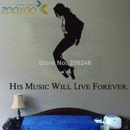 Wholesale Sticker Michael Jackson - forever king of pop michael jackson wall decal zooyoo7173s home decorations living room removable diy pvc wall stickers