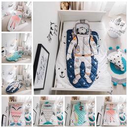 Wholesale patterned envelopes - Mermaid Tail Shark Crocodile Astronaut Kids Blanket 150*70cm Baby Sleeping Bag INS Swaddling Nursery Bedding OOA3437