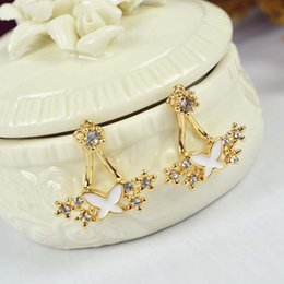 Wholesale Butterfly Backing Earrings - New Arrivals Front and Back Double Sided Clear Crystal Flowers Butterfly 18K Yellow Gold Plated Stud Earrings Fashion jewelry for Women