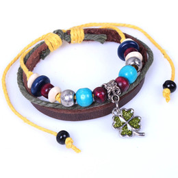 Wholesale Multi Bracelet Clover - New Girl Floral Clover Friendship Bracelets Multi Layer Leather Chain Teenager Beads Infinity Bracelets for Wholesale Free Shipping