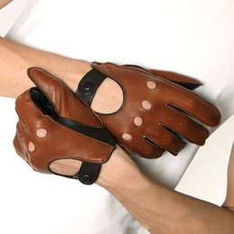 Wholesale Tan Fingerless Gloves - Wholesale-Breathable Patchwork Men Sheepskin Driving Leather Gloves Fashion Five Finger Style Genuine Leather Gloves Brown+Tan Two Colors