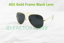 Wholesale Designer Sunglasses Gold Green - High Quality Mens Womans Glasses Gold Frame Black Glass Lens 58mm Size Designer Sport Sunglasses come boxes