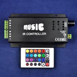 Wholesale 12v Audio Controller Led - 2015 Rgbw Led Dimmer Dc12 24v 180w 24key Ir Remote Control Aluminum Led Rgb Music Controller & for Audio Sound Sensitive for Strip Light