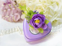 Wholesale Spring Candy Favor Boxes - 50Pcs Lot Sweet Heart Tin Box Purple Wedding Favor Holders Gift Box Party Gifts candy boxes 2016 Spring Style