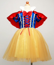 Wholesale Tutu Fast Shipping - Fast Shipping Way to AUS 2017 Princess Snow White dress with Red Cape and Bow girls party dresses costume cosplay costumes Children Clothing