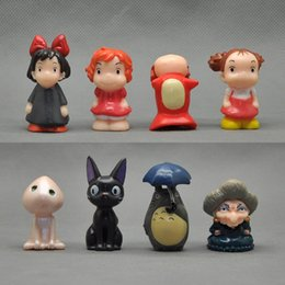 "Wholesale Hot Action - Hot New 8Pcs Lot 1.4""-2"" 3.5CM-5CM Totoro Spirited Away Ponyo Figure Anime Collectible Action Figures Best Gifts Toys"