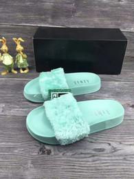 Wholesale Ladies Sandals Color Blue - 2017 New Rihanna Leadcat Fenty fashion Color Slipper Faux Fur Burgundy Slide Slippers Ladies Indoor Purple Pink Sandals