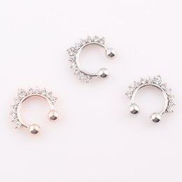 Wholesale New Nose Piercing Jewelry - New fake septum Stainless Steel Circular Horseshoe Nose Ring Piercing Crystal Medical Titanium Hoop Body Jewelry O125