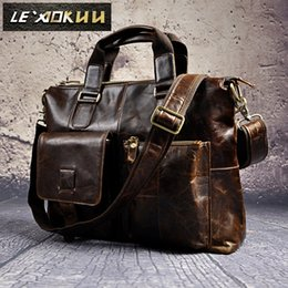 "Wholesale Women Leather Attache Case - Mens Genuine Leather Antique Style Briefcase Business 16"" Laptop Cases Attache Messenger Bags Tote B260"