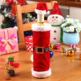 Wholesale Hats Short Hair - Factory Price Christmas Santa Clause Clothing Hat Dress Wine Bottle Cover Christmas Gift New Wine Bottle Cover Christmas Decoration
