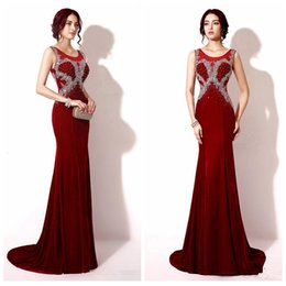 Wholesale Sexy Dazzing - Dazzing Sexy 2016 Formal Mermaid Long Evening Dresses Crystals Burgundy Red Cheap Prom Party Dress Celebrity Gowns Velvet Backless Beading