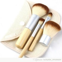 Wholesale Lighted Professional Make Up Case - Free DHL Makeup Brushes 4Pcs 4 pcs Set Kit Beautiful Professional Bamboo Elaborate make Up brush Tools With Case zipper bag button bag