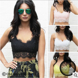 Wholesale Black Eyelash Lace - 2015 Newest Women Sexy Eyelash lace Crop top Camisole Hollow out Lace Soft Vest Bra for Women bustier Tank Top Casual sleeveless tank top