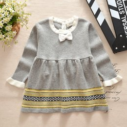Wholesale Bud Net - Baby girls Long Sleeve Princess Dresses Baby Girls Solid Sweater dress Children Knitted Net yarn Dress top quality