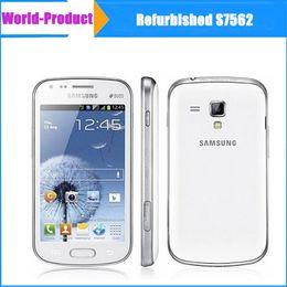 Wholesale Mobile Phones Unlocking Box - Original refurbished Samsung S7562 4 inch telefone celular camera 5MP 3G android dual sim Bluetooth mobile unlocked phone sealed box 002875